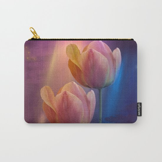Towards the light, mixed media art with Tulips Carry-All Pouch