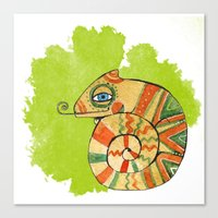 chameleon Canvas Prints featuring Chameleon by Nina Ezhik