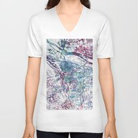 portland V-neck T-shirts featuring Portland map by MapMapMaps.Watercolors