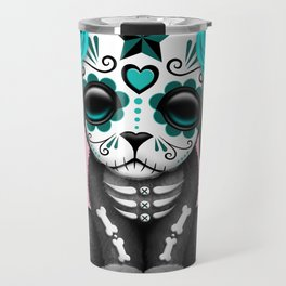 Cute Blue and Pink Day of the Dead Puppy Dog Travel Mug