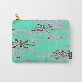 Minty Retro Snowflakes Carry-All Pouch