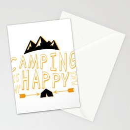 Camping Is My Happy Place Camper Funny Stationery Cards
