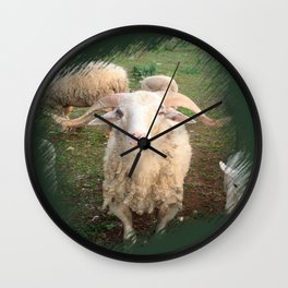 A Flock Of Sheep In A Rural Setting Wall Clock