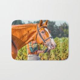 Horse head photo closeup Bath Mat