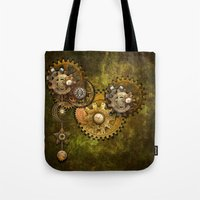wall clock Tote Bags featuring Clock Wall 2 by Deborah DaNaan