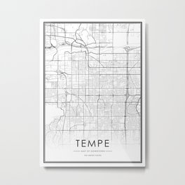 Tempe City Map United States White and Black Metal Print