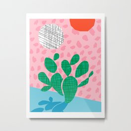 Lampin' - memphis throwback style retro neon cactus desert palm springs california southwest hipster Metal Print