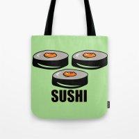 sushi Tote Bags featuring Sushi by Sofia Youshi