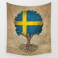 sweden Wall Tapestries featuring Vintage Tree of Life with Flag of Sweden by Jeff Bartels
