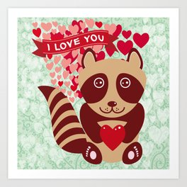 funny raccoon with red heart. I love you Art Print