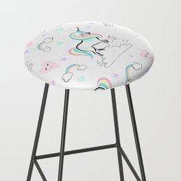 Standing tall Unicorn on cloud and heart pattern Bar Stool