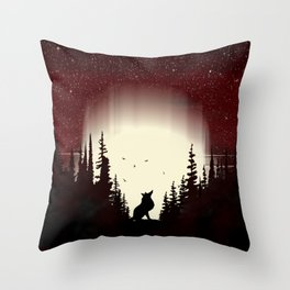 Red Forest Fox Throw Pillow