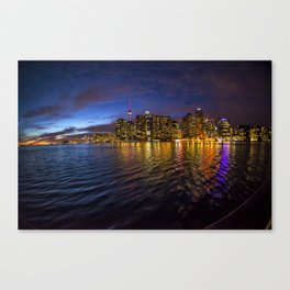 Rainbow city night Canvas Print