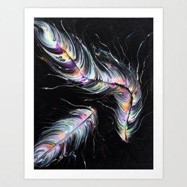 Neon Feathers Art Print