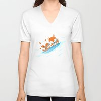 skiing V-neck T-shirts featuring Skiing by HK Chik