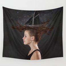 Sailing - Black Wall Tapestry