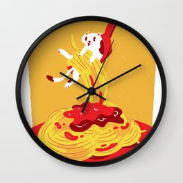 Pasta Pasta Spaghetti Cat Wall Clock