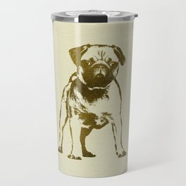 Pug Puppy sketch on canvas with gold accents Travel Mug