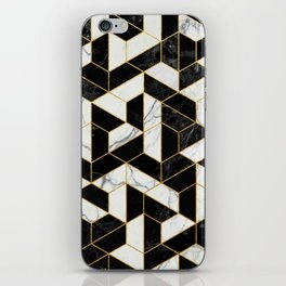 Black and White Marble Hexagonal Pattern iPhone Skin