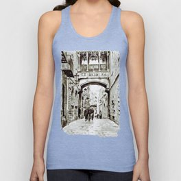 Carrer del Bisbe - Barcelona Black and White Unisex Tank Top