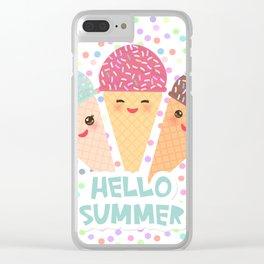 Hello Summer Kawaii Ice cream waffle cone Clear iPhone Case