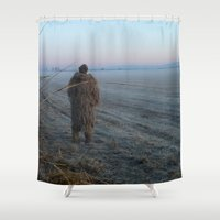 bigfoot Shower Curtains featuring Bigfoot? by Randy Sager