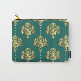 Gold damask flowers and pearls on teal background Carry-All Pouch