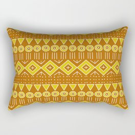 Mudcloth Style 2 in Burnt Orange and Yellow Rectangular Pillow