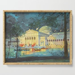 Lagoon at Night; Palace of Fine Arts in Chicago 1893 Serving Tray