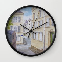 Narrow streets in Chinons old town (France) Wall Clock