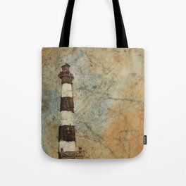 Fine art watercolor painting of Bodie Island lighthouse at sunset in the Outer Banks (OBX) Tote Bag