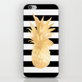 Gold Pineapple Black and White Stripes iPhone Skin