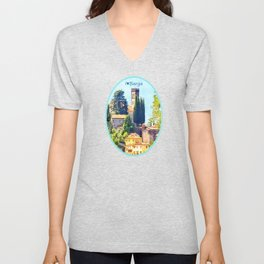 Duomo of Barga (color) Unisex V-Neck