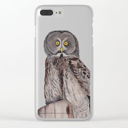 Wise Owl Watercolour Clear iPhone Case