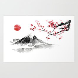 Sunset Over Mt Fuji Art Print