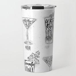 Cocktail menu graphic Travel Mug