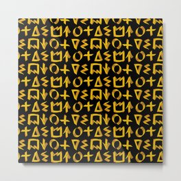 Black and Gold Graffiti Print Metal Print