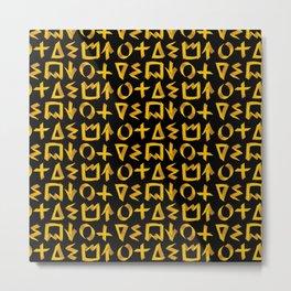 Black and Gold Graffiti Print Metal Print