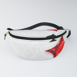 Gray Background with Polygonal Playing Cards Symbols Fanny Pack