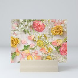 Romantic Pink Flowers Mini Art Print