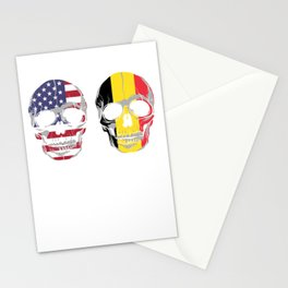 Patriot German Nationalism Country Nationals Patriotic Germany USA Flag Skull Gift My Home My Blood Stationery Cards