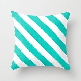Aqua Diagonal Stripes Pattern Throw Pillow