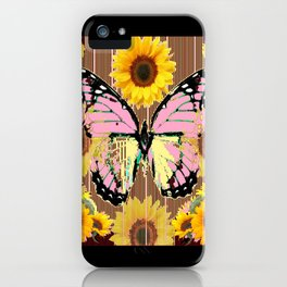 BLACK ABSTRACT PINK BUTTERFLY SUNFLOWER FLORAL iPhone Case