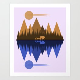 Bear & Cubs Art Print
