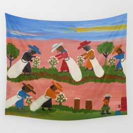 African American Masterpiece 'Six Figures Picking Cotton' folk art painting by Clementine Hunter Wall Tapestry