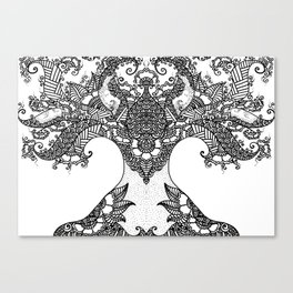 Unity of Halves - Life Tree - Rebirth - White Canvas Print