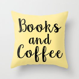 books and coffee yellow throw pillow
