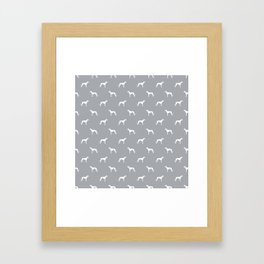 Greyhound Grey and white minimal dog silhouette dog breed pattern Framed Art Print