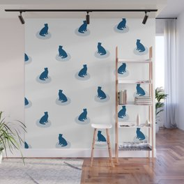 Minimal Sitting Cat Pattern - Blue and White Wall Mural