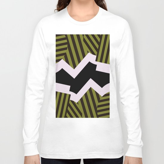 Bold Stripes - Black and white, brown and khaki stripes, abstract geometry Long Sleeve T-shirt